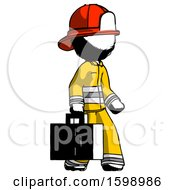 Ink Firefighter Fireman Man Walking With Medical Aid Briefcase To Right