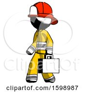 Ink Firefighter Fireman Man Walking With Briefcase To The Left