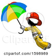 Ink Firefighter Fireman Man Flying With Rainbow Colored Umbrella