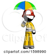 Ink Firefighter Fireman Man Holding Umbrella Rainbow Colored