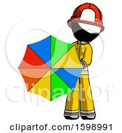 Ink Firefighter Fireman Man Holding Rainbow Umbrella Out To Viewer
