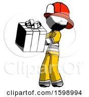 Ink Firefighter Fireman Man Presenting A Present With Large Red Bow On It
