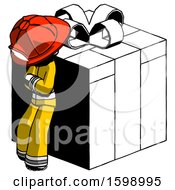 Ink Firefighter Fireman Man Leaning On Gift With Red Bow Angle View