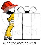 Ink Firefighter Fireman Man Gift Concept Leaning Against Large Present