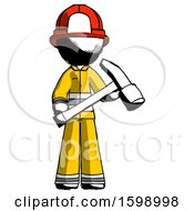 Ink Firefighter Fireman Man Holding Hammer Ready To Work
