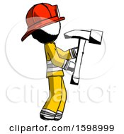 Ink Firefighter Fireman Man Hammering Something On The Right