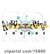 Black Cat With Yellow Eyes On An Alley Cats Lounge Sign