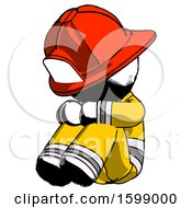 Ink Firefighter Fireman Man Sitting With Head Down Facing Angle Left