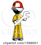 Ink Firefighter Fireman Man Holding Large Wrench With Both Hands