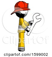 Ink Firefighter Fireman Man Using Wrench Adjusting Something To Right
