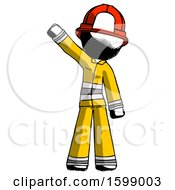 Ink Firefighter Fireman Man Waving Emphatically With Right Arm