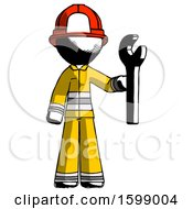 Ink Firefighter Fireman Man Holding Wrench Ready To Repair Or Work