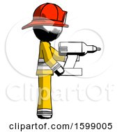 Ink Firefighter Fireman Man Using Drill Drilling Something On Right Side