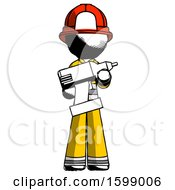 Ink Firefighter Fireman Man Holding Large Drill