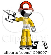 Ink Firefighter Fireman Man Holding Drill Ready To Work Toolchest And Tools To Right