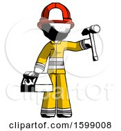 Ink Firefighter Fireman Man Holding Tools And Toolchest Ready To Work