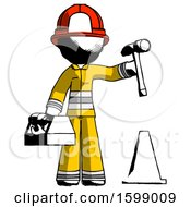 Ink Firefighter Fireman Man Under Construction Concept Traffic Cone And Tools