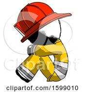 Ink Firefighter Fireman Man Sitting With Head Down Facing Sideways Left