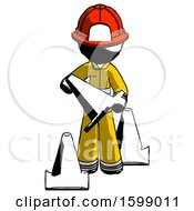 Ink Firefighter Fireman Man Holding A Traffic Cone