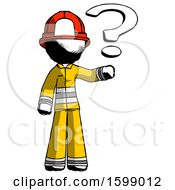 Ink Firefighter Fireman Man Holding Question Mark To Right