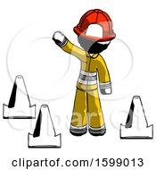 Ink Firefighter Fireman Man Standing By Traffic Cones Waving