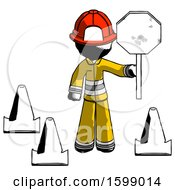 Ink Firefighter Fireman Man Holding Stop Sign By Traffic Cones Under Construction Concept