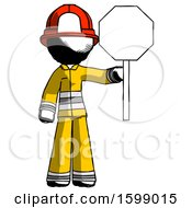 Ink Firefighter Fireman Man Holding Stop Sign