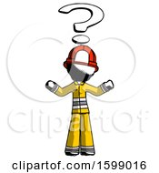 Ink Firefighter Fireman Man With Question Mark Above Head Confused