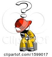 Ink Firefighter Fireman Man Thinker Question Mark Concept
