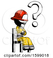 Ink Firefighter Fireman Man Question Mark Concept Sitting On Chair Thinking