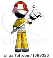 Ink Firefighter Fireman Man Holding Jester Diagonally