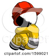 Ink Firefighter Fireman Man Sitting With Head Down Back View Facing Left