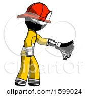 Ink Firefighter Fireman Man Dusting With Feather Duster Downwards