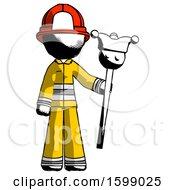 Ink Firefighter Fireman Man Holding Jester Staff