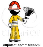 Ink Firefighter Fireman Man Holding Feather Duster Facing Forward