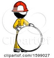 Ink Firefighter Fireman Man Standing Beside Large Compass