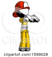 Ink Firefighter Fireman Man Holding Binoculars Ready To Look Right