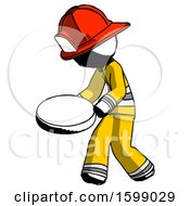 Ink Firefighter Fireman Man Walking With Large Compass