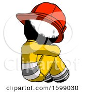 Ink Firefighter Fireman Man Sitting With Head Down Back View Facing Right