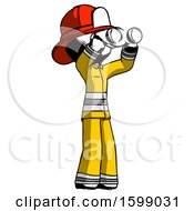 Ink Firefighter Fireman Man Looking Through Binoculars To The Right