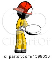 Ink Firefighter Fireman Man Looking At Large Compass Facing Right