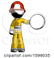 Ink Firefighter Fireman Man Holding A Large Compass