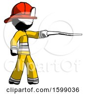 Ink Firefighter Fireman Man Pointing With Hiking Stick