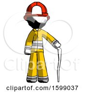 Ink Firefighter Fireman Man Standing With Hiking Stick