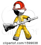 Ink Firefighter Fireman Man Broom Fighter Defense Pose