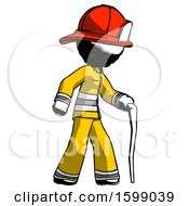Ink Firefighter Fireman Man Walking With Hiking Stick