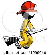 Ink Firefighter Fireman Man Flying On Broom