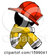 Ink Firefighter Fireman Man Sitting With Head Down Facing Sideways Right