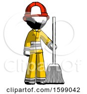 Ink Firefighter Fireman Man Standing With Broom Cleaning Services