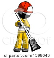 Ink Firefighter Fireman Man Sweeping Area With Broom